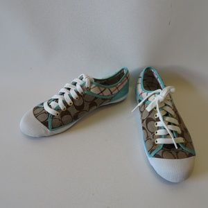 NWOB COACH ZORRA JACQUARD BROWN BLUE SNEAKERS 7.5